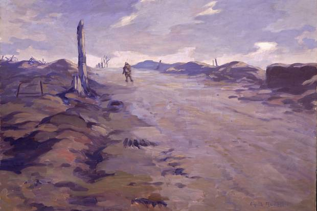 Canadian war artist Gyrth Russell's The Crest of Vimy Ridge captures the site of a battle where some 3,598 Canadians lost their lives.