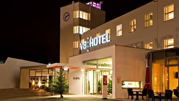 The V8 Hotel is located in a former airport site in Stuttgart, Germany. (MOTORWORLD/V8 HOTEL)
