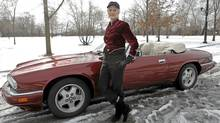 Author Sara Paretsky with her 1995 Jaguar XJS convertible. (Shauna Bittle/Shauna Bittle for The Globe and Mail)