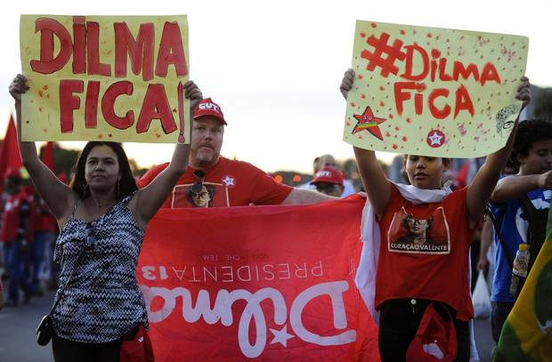 Members of labour unions hold a demonstration during the National Day of Mobilization against the impeachment of Brazilian President Dilma Rousseff and budget cuts proposed by the government in Brasilia on Dec. 16, 2015.