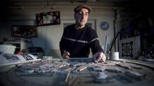 Bruce Walther is in his studio working on a mosaic of Doug Hepburn, once know as the World's Strongest Man. (John Lehmann/The Globe and Mail)