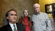David Healy, a psychiatrist and critic of the drug industry stands with Julie and Peter Wood in Toronto. (Deborah Baic/The Globe and Mail)