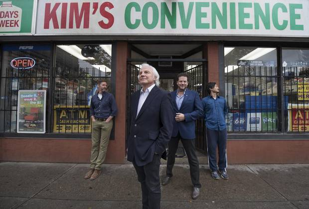 From left, Kim's Convenience executive producers Kevin White, Ivan Fecan, Albert Schultz and Ins Choi on Sept. 29, 2016.