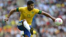 Brazil's Hulk controls the ball during their men's gold medal soccer match against Mexico at the London 2012 Olympic Games at Wembley Stadium August 11, 2012. (Reuters)