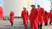 Premier Christy Clark, middle left, tours the Jiangsu LNG Terminal, where industry and the province of British Columbia hope Canadian natural gas might one day be imported from ships. (NATHAN VANDERKLIPPE/THE GLOBE AND MAIL)
