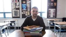Nathan Tidridge, a history and grade 10 civics teacher in Waterdown, Ont., said there's no mention of Canada's constitution in the textbooks. He along with a group of educators are worried that a generation students will grow up with wrong ideas about how Canadian government is run. (Glenn Lowson for The Globe and Mail)