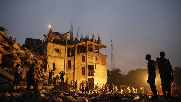 """Loblaw Cos. Ltd.The collapse of the Rana Plaza garment building in Bangladesh April 24, 2013. Stock price: $41.51 (pre-event) $41.11 (post-event). """"I am deeply troubled. I am troubled that, despite a clear commitment to the highest standards of ethical sourcing, our company can still be part of such an unspeakable tragedy."""" —Galen G. Weston, executive chairman of Loblaw (ANDREW BIRAJ/REUTERS)"""