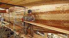 Scaffolding is taken down from the hull of the schooner Bluenose II after sanding of the planks was completed in Lunenburg, NS , Feb. 13 , 2012. (Paul Darrow for The Globe and Mail/Paul Darrow for The Globe and Mail)