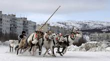 A competitor guides his reindeers during a reindeer race at the Festival of the North in Russia's arctic seaport of Murmansk April 1, 2012. Residents of Russia's north celebrate the annual festival to welcome spring and mark the end of the long winter with various winter sports competitions. (STRINGER/RUSSIA/STRINGER/RUSSIA/REUTERS)
