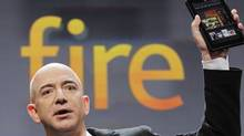 Jeff Bezos, Chairman and CEO of Amazon.com, introduces the Kindle Fire at a news conference, Wednesday, Sept. 28, 2011 in New York. The e-reader and tablet has a 7-inch multicolour touchscreen. (Mark Lennihan/Mark Lennihan/AP)