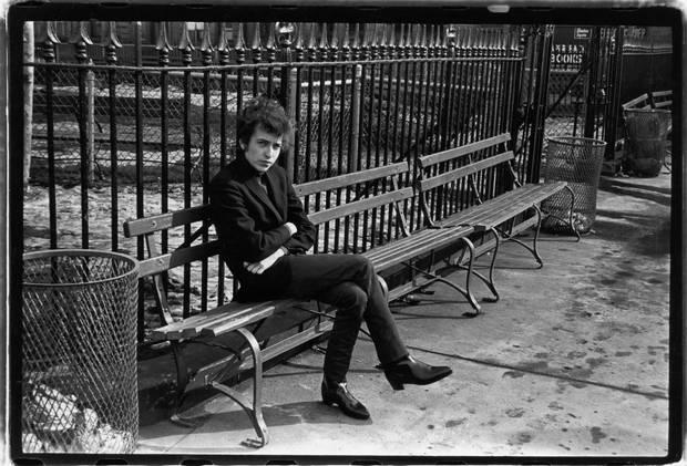 Bob Dylan poses in Sheridan Square Park, New York, in 1965.
