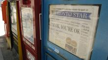 A Toronto Star newspaper in a street box. (Tibor Kolley/The Globe and Mail)