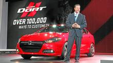 Dodge Brand President and CEO Reid Bigland introduces the 2013 Dodge Dart at the 2012 North American International Auto Show in Detroit. (Joe Wilssens/Chrysler)