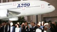 A model of an Airbus A380 is shown to delegates prior to the 35th Assembly of the International Civil Aviation Organization (ICAO) in Montreal in this file photo. (SHAUN BEST/REUTERS)