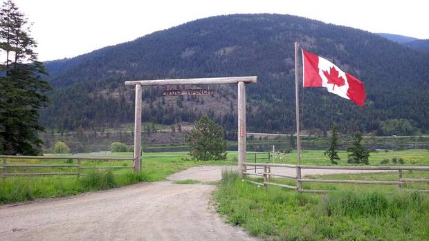"Walter Wolf's 7,000-acre ranch about 45 minutes outside Kamloops, B.C. The sign above the entrance reads ""Wolf Ranch."" (Kathryn Blaze Carlson/The Globe and Mail)"