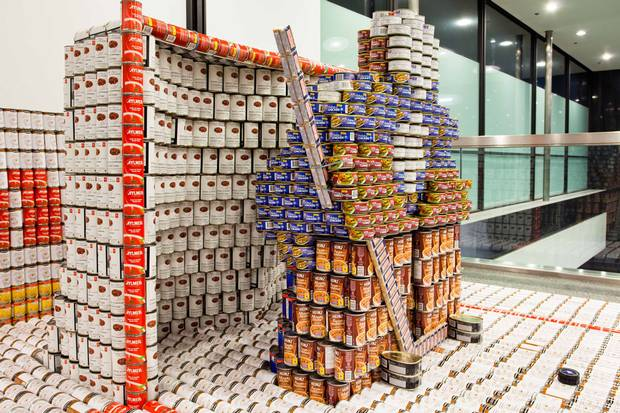 A goalie sculpture for Diamond Schmitt Architects's Canstruction, a competition open to engineers, students, designers and architects to see who can build the best sculpture out of cans of food.
