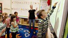 .Teacher Miriam Foth directs Joel Buckley (right) during the full day kindergarten class at Leo Nickerson Elementary School in St. Albert Alberta. Schools are loosing funding to offer full day kindergarten classes and will have to go back to half day. (Jason Franson for The Globe and Mail/Jason Franson for The Globe and Mail)