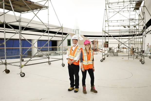 David Morrison and Chantal Amyot survey the new exhibit space at the Canadian Museum of History in Gatineau, Que., on Sept. 15, 2016.