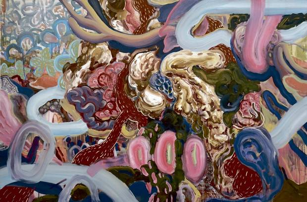 Wei Li's Obsessiveness and excitement, never growing out of them, oil and acrylic on canvas, 40 x 60 inches, University of Alberta