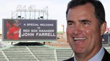 New Red Sox manager John Farrell laughs during a television interview overlooking Fenway Park after being introduced as manager of the club in Boston, Massachusetts October 23, 2012. (JESSICA RINALDI/Reuters)