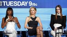 """Models and coaches Naomi Campbell (L-R), Karolina Kurkova and Coco Rocha attend the panel for the Oxygen Network television series """"The Face"""" at the 2013 Winter Press Tour for the Television Critics Association in Pasadena, California January 7, 2013. (MARIO ANZUONI/REUTERS)"""