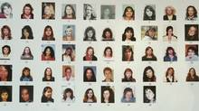 An exhibit from the Pickton trial, a poster board of 48 missing women shown to Pickton during the 11 hours interview on day after he was arrested. Names of those identified in court: #1 Sereena Abotsway; #3 Andrea Joesbury; #4 Mona Wilson; #17 Georgina Papin; #26 Marnie Frey; #48 Brenda Wolfe outside the BC Supreme Court in New Westminster January 30, 2007 on the seven day of the trial for accused serial killer Robert Pickton (JOHN LEHMANN/The Globe and Mail)