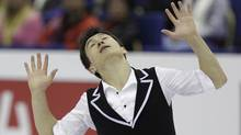 Patrick Chan of Canada performs during his men short program at the 2012 World Figure skating Championships in Nice, southern France, Friday, March 30, 2012. (Lionel Cironneau/Associated Press)