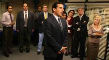 "A scene from NBC's ""The Office"" shows Steve Carell, front, as Michael Scott. (Justin Lubin/AP)"