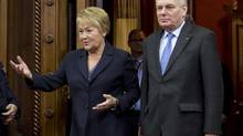 Quebec Premier Pauline Marois with French Prime Minister Jean-Marc Ayrault in Quebec City on Friday. (Jacques Boissinot/The Canadian Press)