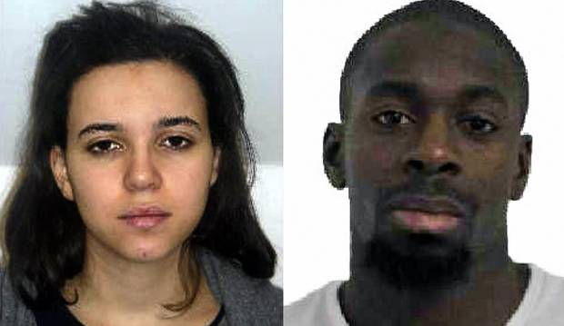 Hayat Boumeddiene and Amedy Coulibaly are shown in photos released by French police.