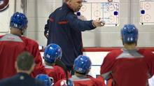 Montreal Canadiens head coach Michel Therrien goes over a play during the team's practice in Brossard, Que., on Monday, April 14, 2014. The Canadiens play the Tampa Bay Lightning in round one of the Stanley Cup Playoffs in Tampa on Wednesday, April 16, 2014. (Ryan Remiorz/THE CANADIAN PRESS)
