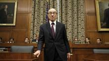 Former chairman of the Federal Reserve Alan Greenspan arrives to testify before the House of Representatives oversight and government reform committee on Oct. 23, 2008. (KEVIN LAMARQUE/REUTERS)
