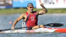 Adam Van Koeverden (front) of Canada celebrates winning the men's K1 1000m final during the ICF Canoe and Kayak Sprint World Championships in Szeged, 170km (106 miles) south of Budapest, August 19, 2011. (Reuters)