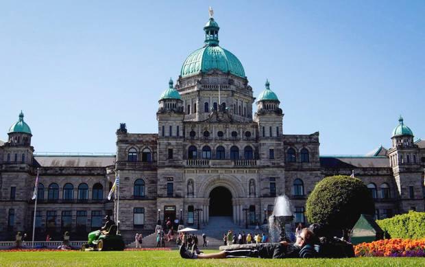 An exterior view of the British Columbia Legislature in Victoria.