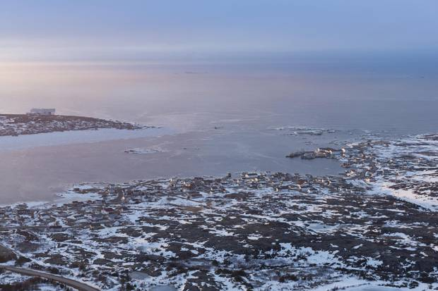 Baan's aerial photograph of the Fogo Island Inn.