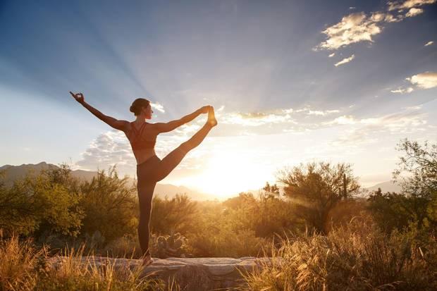 Yoga at sunrise at Canyon Ranch.