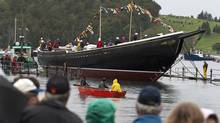 Bluenose II returns to the water in Lunenburg, N.S., after an extensive refit on Sept. 29, 2012. (ANDREW VAUGHAN/THE CANADIAN PRESS)