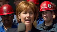Christy Clark at Seaspan Shipyards in North Vancouver, on Tuesday June 7, 2011. (DARRYL DYCK/Darryl Dyck/ The Globe and Mail)