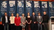 From left: Jordan Abel; Julie Morstad; Kit Pearson; the Honourable Judith Guichon, Lieutenant-Governor of B.C.; Ashley Little; David Stouck; Grant Lawrence; and Howard White, publisher of Douglas & McIntyre.