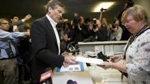 John Tory files his papers to officially join the mayoral race at City Hall in Toronto on Feb. 24, 2014. (Kevin Van Paassen/The Globe and Mail)