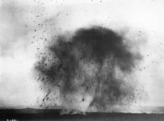 A German shell explodes during the taking of Vimy Ridge.