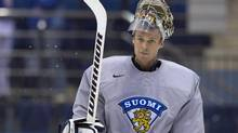 Team Finland goalie Pekka Rinne takes part in practice at the IIHF Ice Hockey World Championship in Minsk Belarus on Wednesday, May 21, 2014. (Jacques Boissinot/THE CANADIAN PRESS)