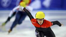 Marianne St-Gelais of Canada competes during the women's 500m heats at the ISU World Short Track Speed Skating Championships in Debrecen, March 9, 2013. (LASZLO BALOGH/REUTERS)