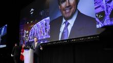 Former cabinet minister and Calgary MP, Jim Prentice, speaks at the Alberta PC Party Leader's Dinner in Calgary, Alta., Thursday, May 8, 2014. (Jeff McIntosh/THE CANADIAN PRESS)