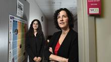 Dr. Aliza Israel, left, and Marsha Gallinger work with women offering them parenting support and help at Women's College Hospital in Toronto. (Fred Lum/The Globe and Mail)