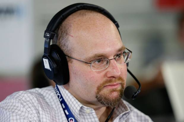 Journalist Glenn Thrush records an episode of The Press Pool at Quicken Loans Arena in Cleveland, Ohio.
