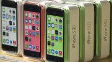 Apple iPhone 5c phones are pictured at the Apple retail store on Fifth Avenue in New York. (ADREES LATIF/REUTERS)