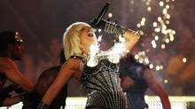 Lady Gaga performs as pyrotechnics go off from her bustier during the 2009 MuchMusic Video Awards in Toronto June 21, 2009. (Mark Blinch / REUTERS/Mark Blinch / REUTERS)