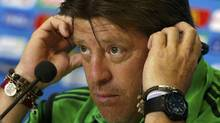 Mexico's national soccer head coach Miguel Herrera attends a news conference before his team's practice at the Dunas arena soccer stadium in Natal June 12, 2014, a day before their World Cup soccer match against Cameroon. (TORU HANAI/REUTERS)
