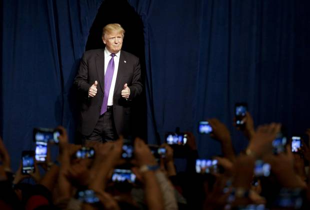 Republican presidential candidate Donald Trump arrives for a caucus night rally in Las Vegas, Nevada in February. He has won three of four Republican state contests and is poised for a strong Super Tuesday.